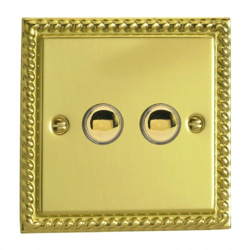 Varilight IJGS002 Georgian Polished Brass 2 Gang Touch Dimming Slave (use only with Master)